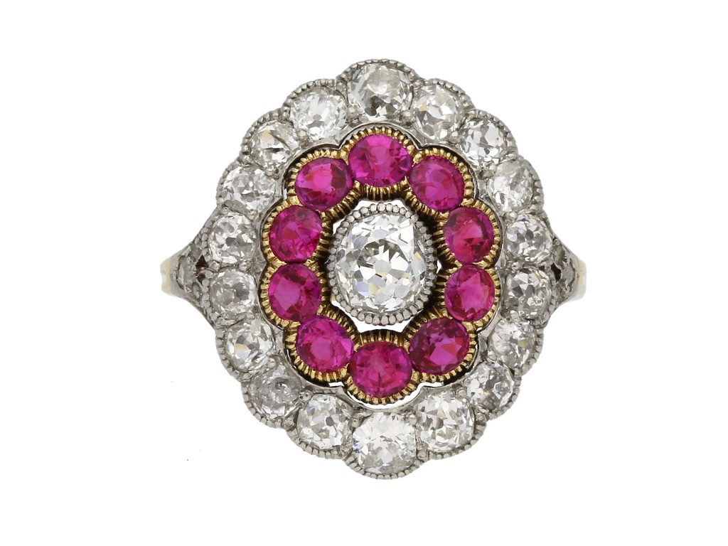 Edwardian diamond and ruby cluster ring berganza hatton garden