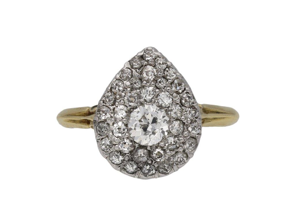 Antique diamond two row cluster ring berganza hatton garden