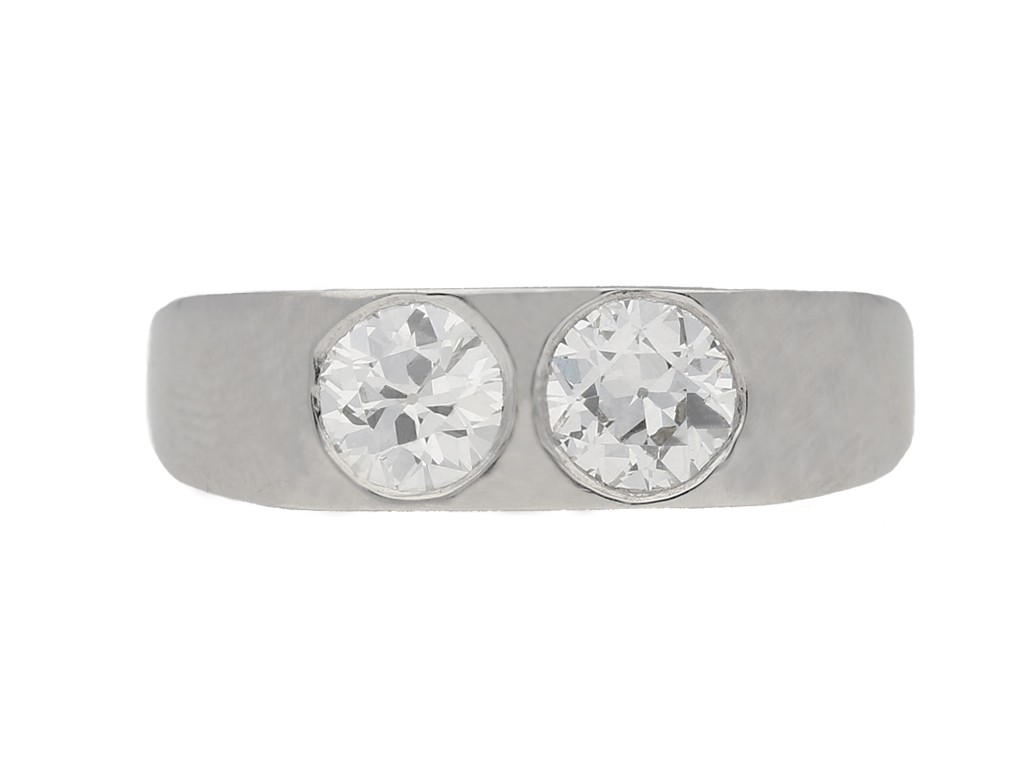front view Two stone old cut diamond ring, circa 1950. berganza hatton garden