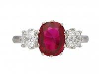 Art Deco ruby and diamond three stone ring berganza hatton garden