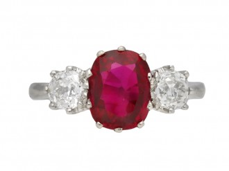 Art Deco ruby and diamond three stone ring berganza hatton garden