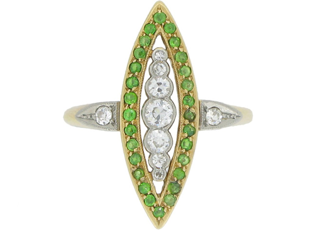 front view Diamond and demantoid garnet marquise shape ring, circa 1910.
