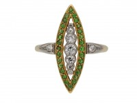Diamond demantoid garnet marquise cluster berganza hatton garden