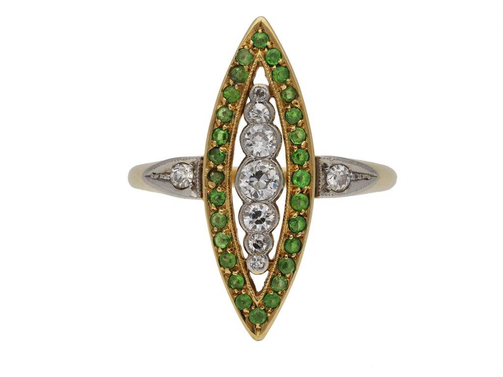 Diamond demantoid garnet marquise cluster berganza hatton garden