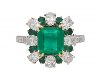 Vintage emerald and diamond cluster ring berganza hatton garden