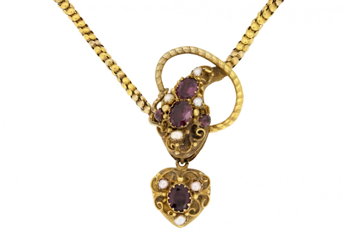 front view Antique garnet and pearl set snake necklace