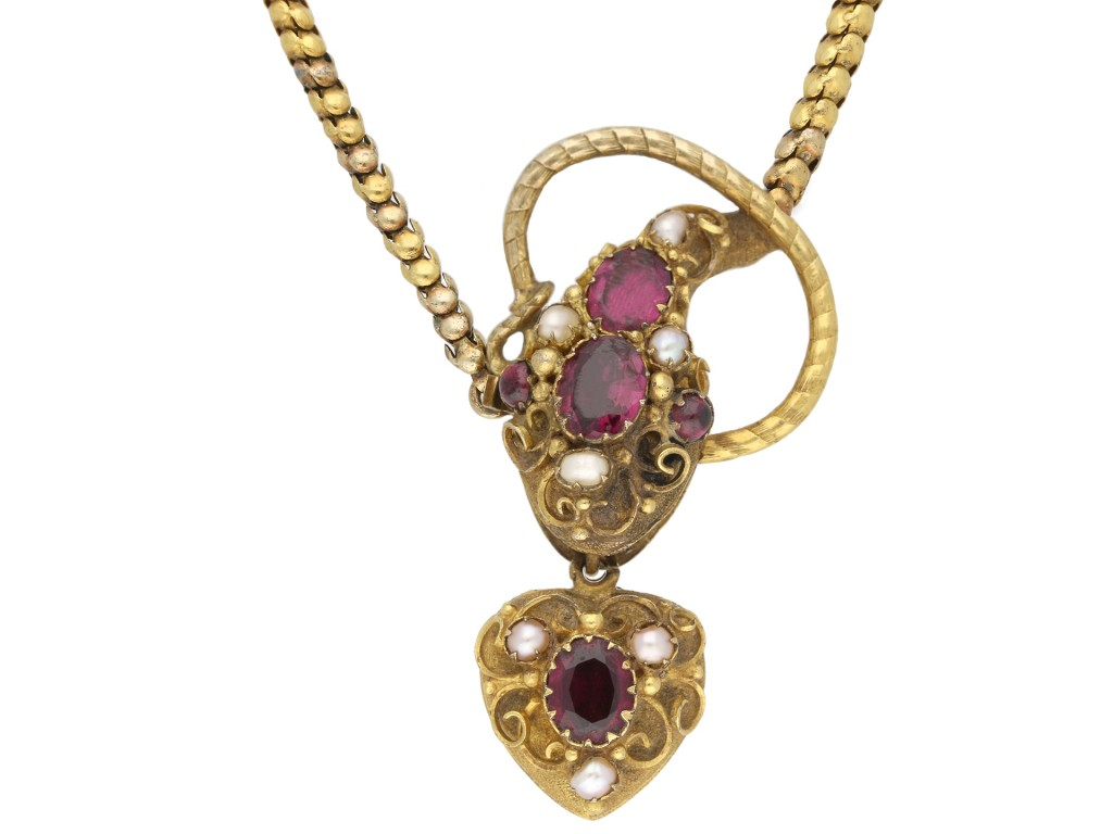 Antique garnet and pearl snake necklace berganza hatton garden