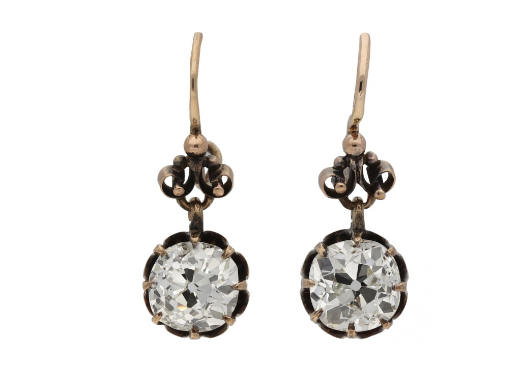 Antique old mine diamond earrings berganza hatton garden