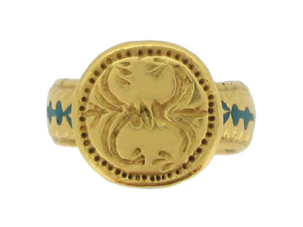front view Ancient Byzantine gold and enamel ring, circa 8th   10th century AD.