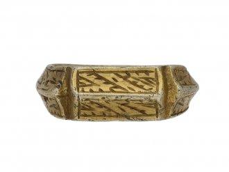 Medieval iconographic ring in silver gilt berganza hatton garden