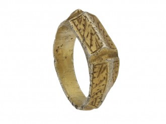 Medieval iconographic ring in silver gilt berganza hatton garden