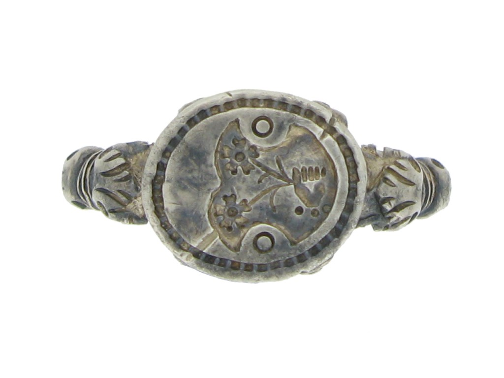 front view Silver seal matrix ring, 18th century.