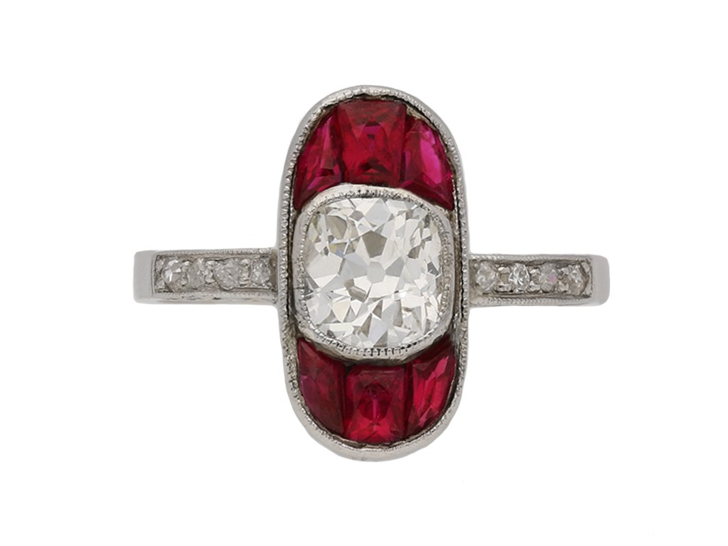 front antique diamond ruby ring hatton garden berganza