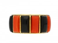 Vintage Cartier coral and onyx ring berganza hatton garden