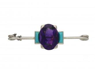 Cartier Art Deco amethyst turquoise brooch berganza hatton garden