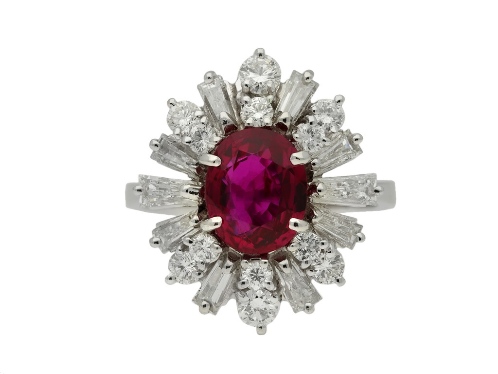 Vintage ruby and diamond cluster ring berganza hatton garden