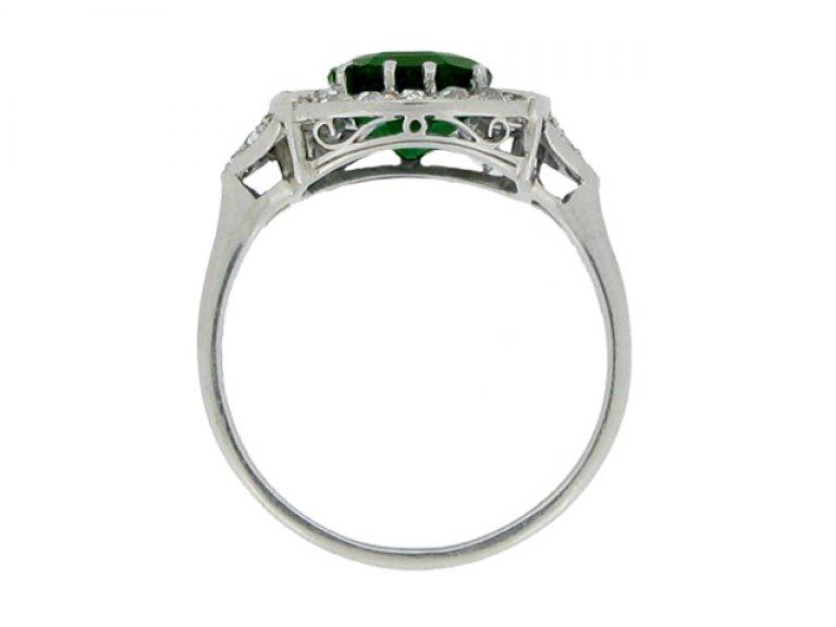 back view Art Deco emerald and diamond coronet cluster ring, circa 1925. berganza hatton garden