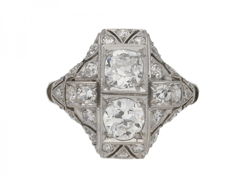 front view Art Deco diamond ring French berganza hatton garden