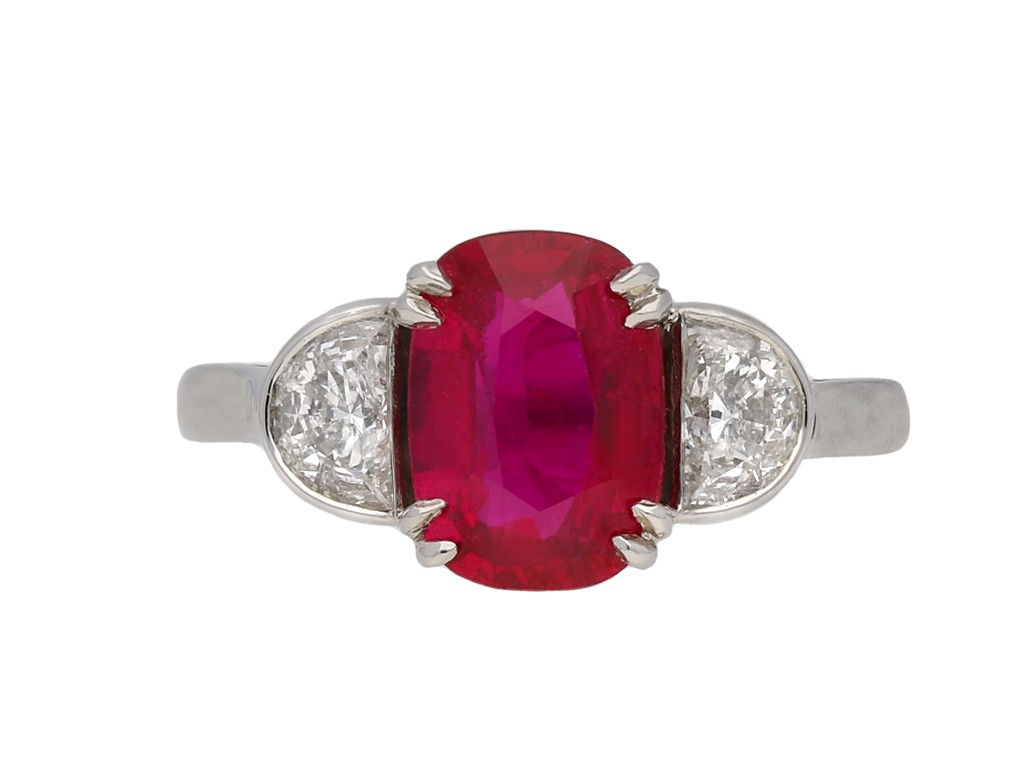 Art Deco Burmese ruby and diamond ring berganza hatton garden