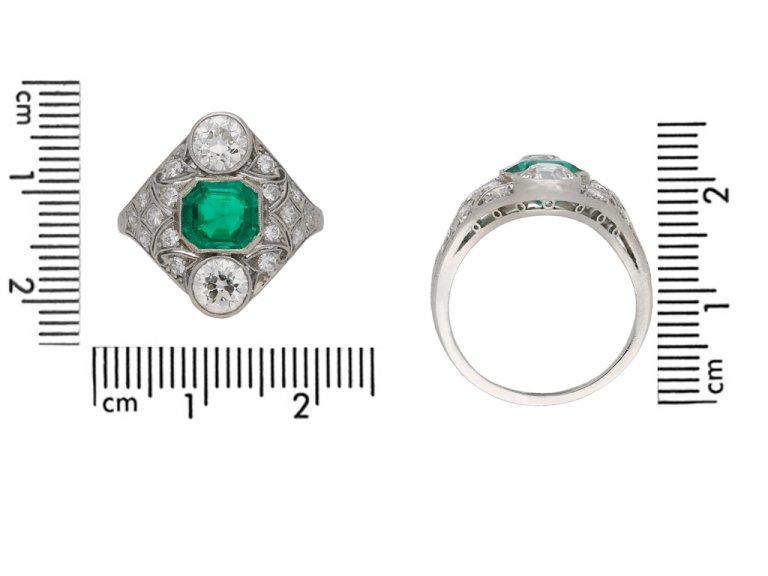 Art Deco emerald and diamond cluster ring berganza hatton garden