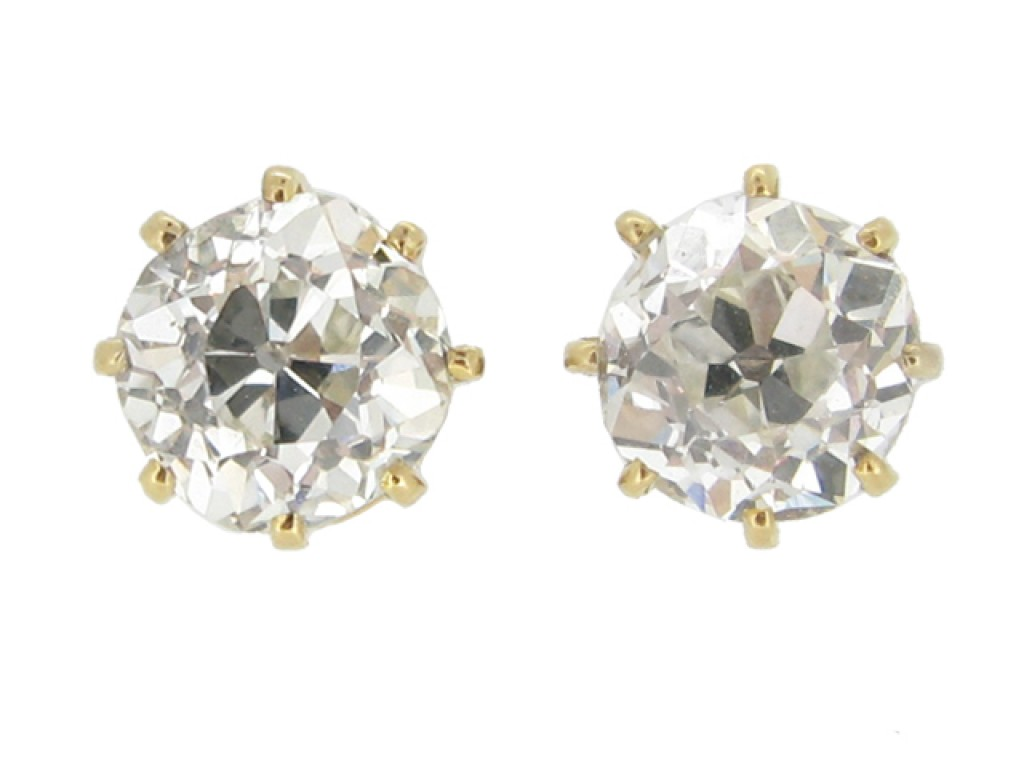 front view Antique old cut diamond earrings berganza hatton garden