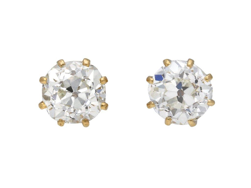 Victorian old cut diamond stud earrings berganza hatton garden