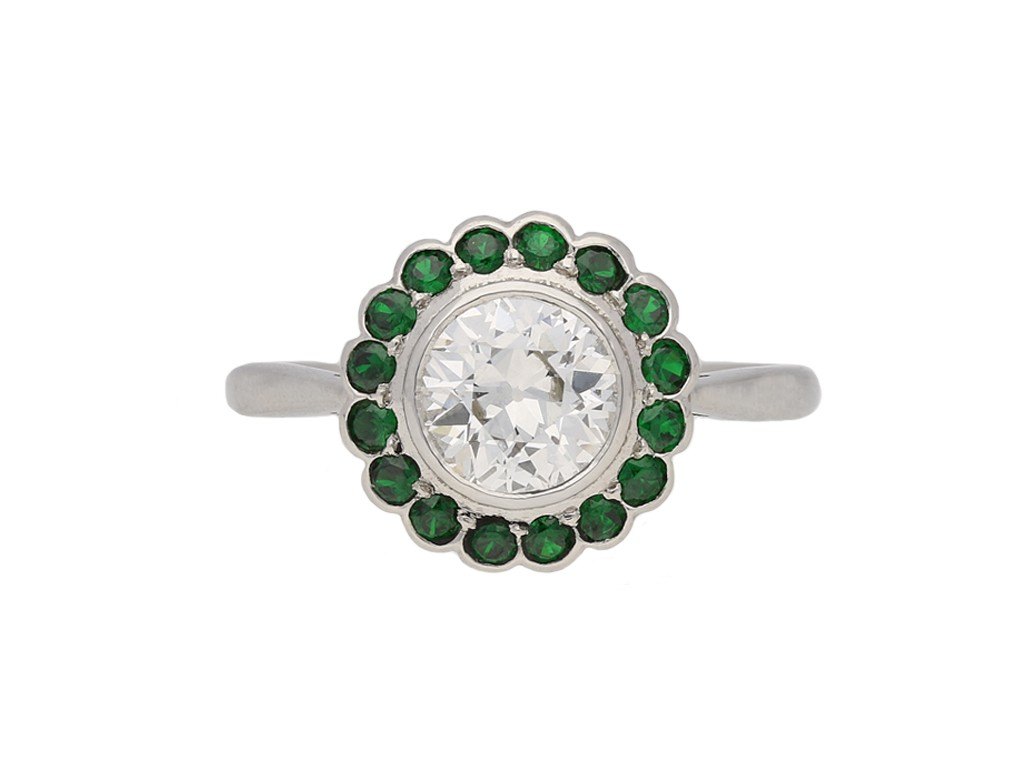 Diamond demantoid garnet ring berganza hatton garden