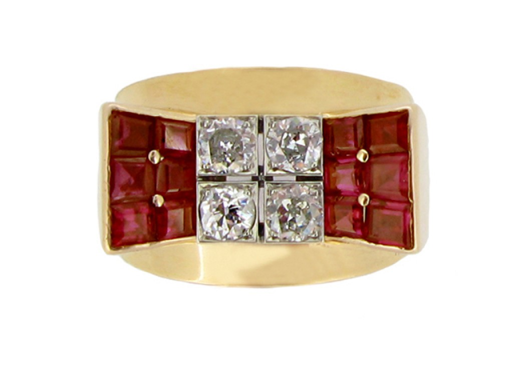 front view Mauboussin ruby and diamond cocktail ring, French, circa 1940.
