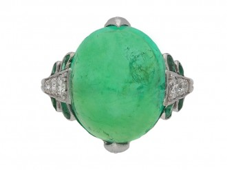 Art Deco emerald cabochon and diamond ring berganza hatton garden