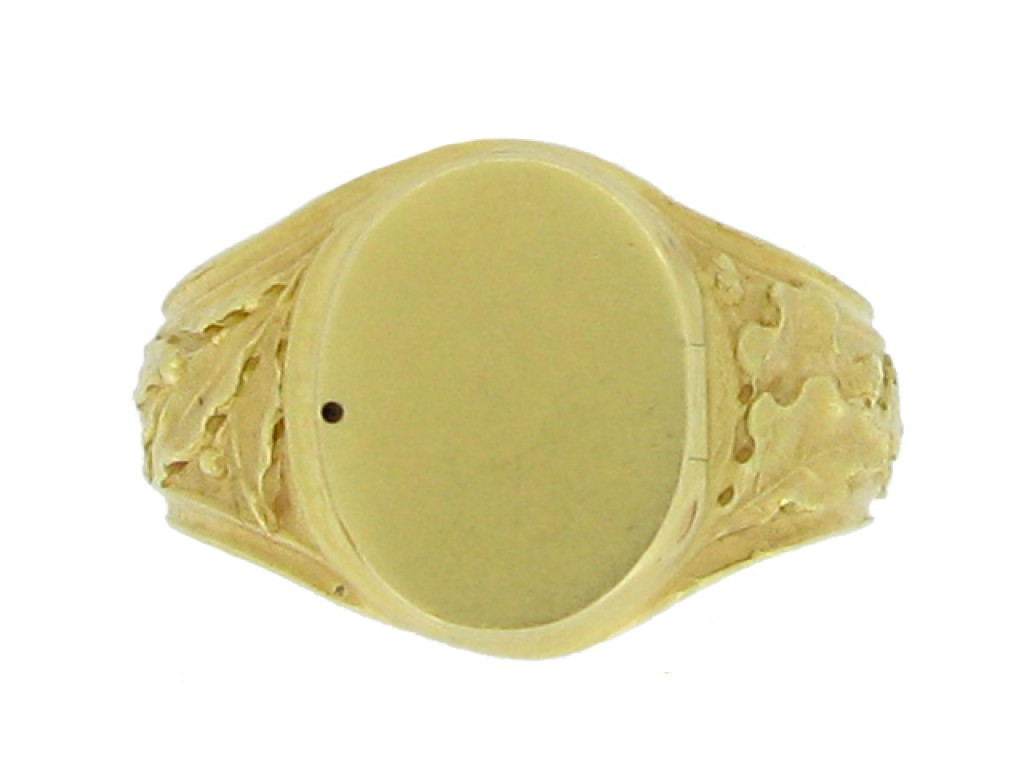 front view Art Nouveau carved locket ring, French, circa 1900.