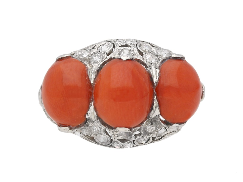 Coral and diamond cluster ring berganza hatton garden