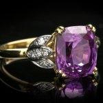 Purple sapphire and diamond ring, circa 1950.