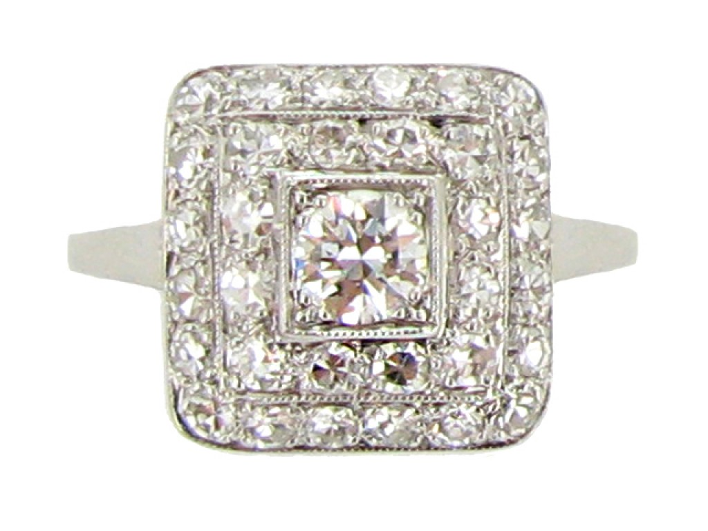 Art Deco square diamond coronet cluster ring, circa 1930.