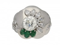 diamond emerald flower ring Seaman Schepps berganza hatton garden