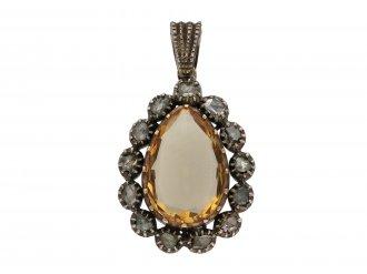 Early Victorian topaz and diamond pendant berganza hatton garden