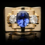 Chaumet Ceylon sapphire and diamond cocktail ring, French, circa 1946.