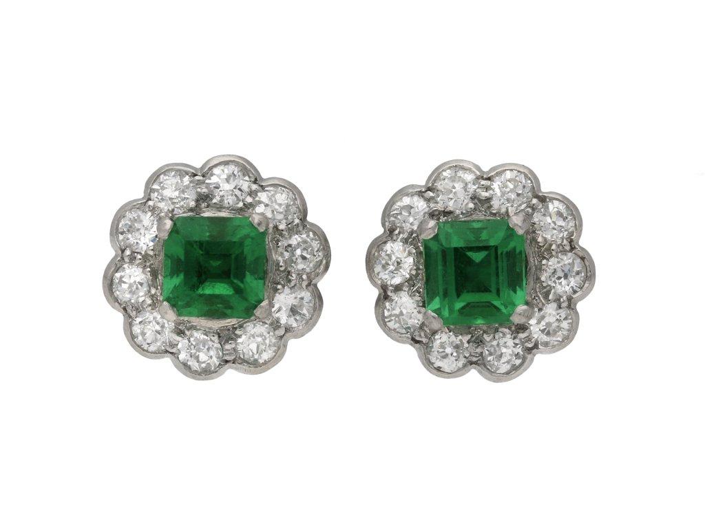 Colombian emerald diamond earrings berganza hatton garden