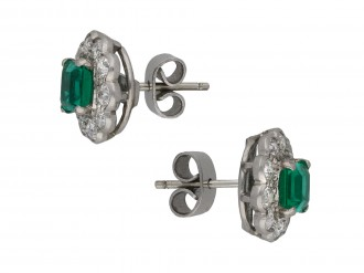 Colombian emerald diamond earrings berganza hatton garden
