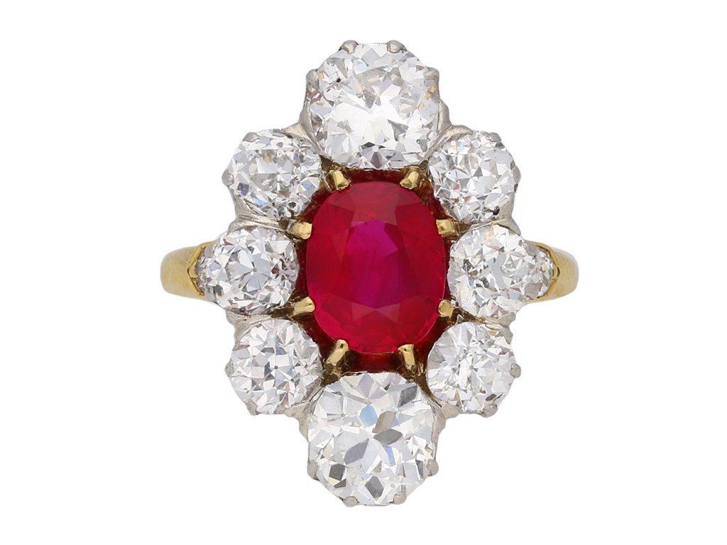 Antique Burmese ruby diamond cluster ring berganza hatton garden