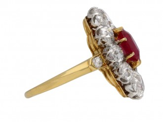 Antique Burmese ruby diamond cluster ring berganza hatton garden