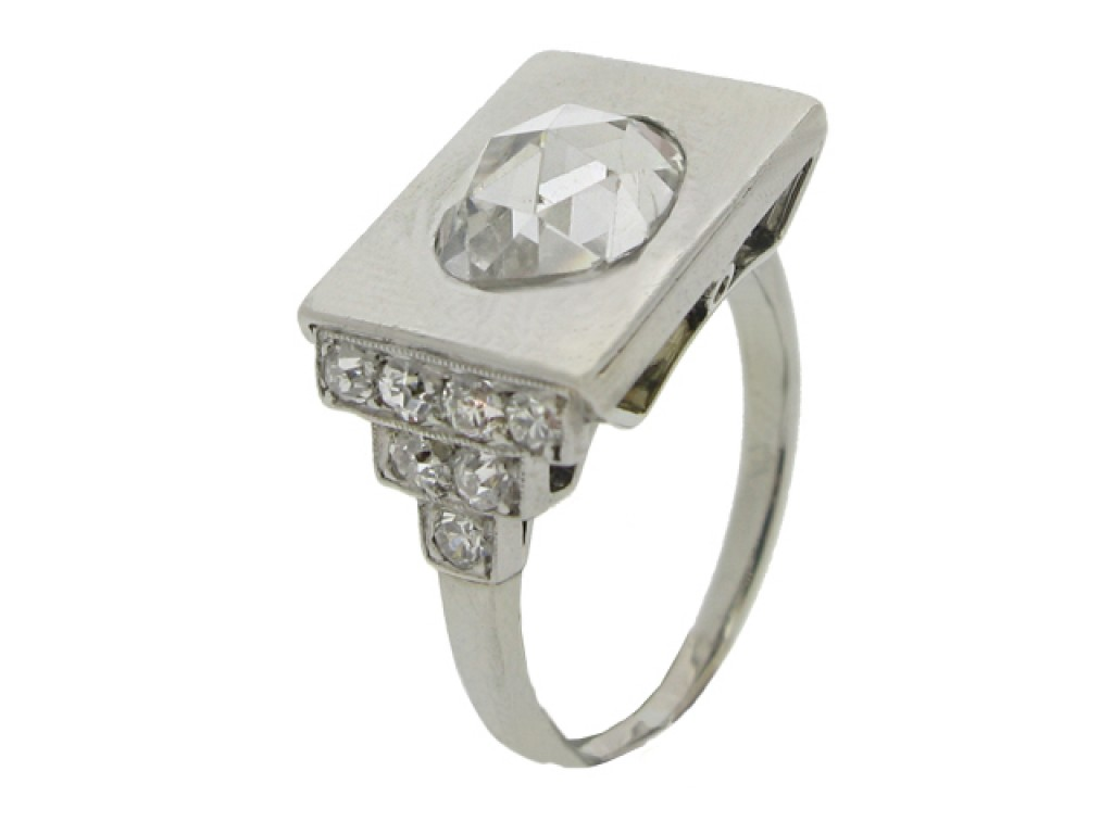 front view Art Deco rose cut diamond ring, circa 1935.