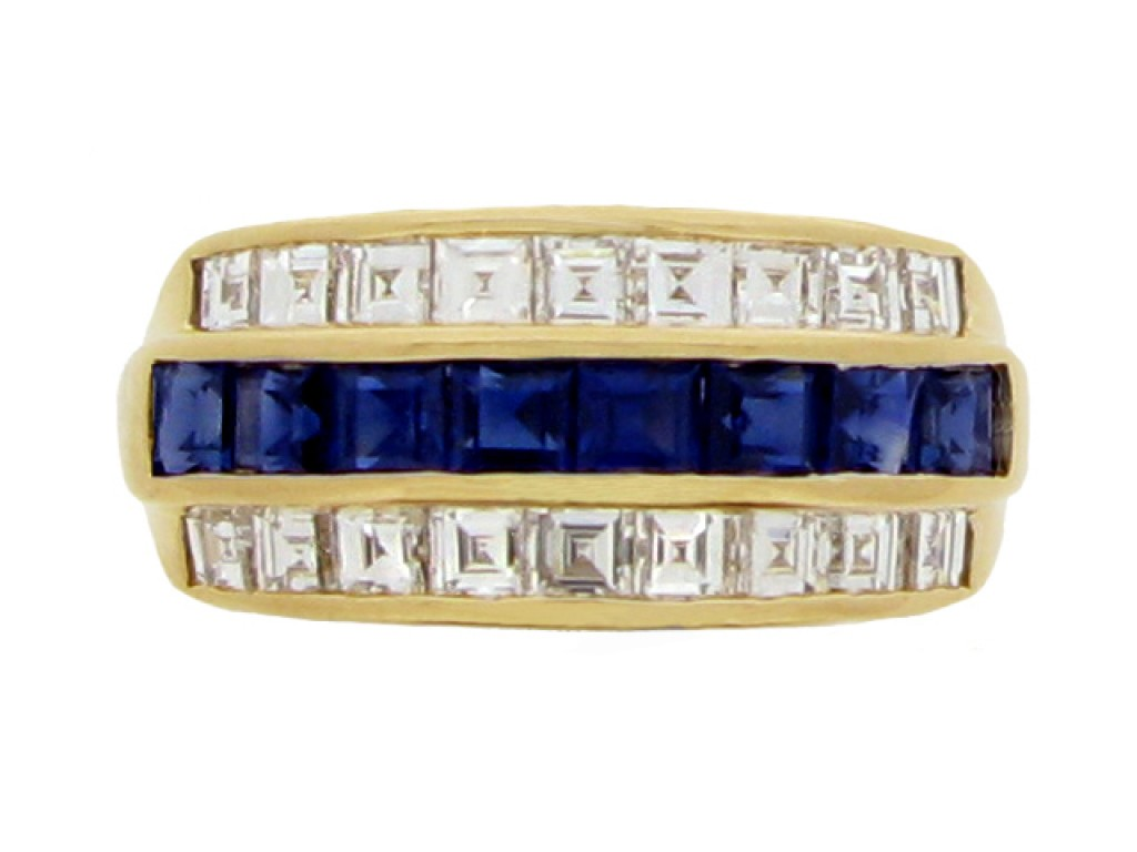 front view Oscar Heyman Brothers sapphire and diamond ring, American, circa 1970s.