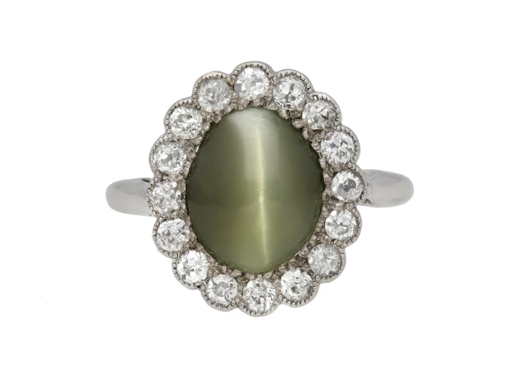 Cat's eye chrysoberyl cluster ring berganza hatton garden