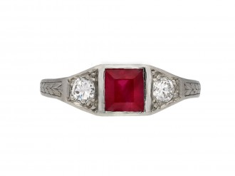 Art Deco Burmese ruby diamond three stone ring berganza hatton garden