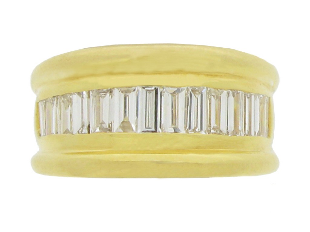 front view Baguette diamond ring, circa 1970.