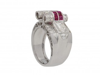 Art Deco ruby and diamond cocktail ring berganza hatton garden