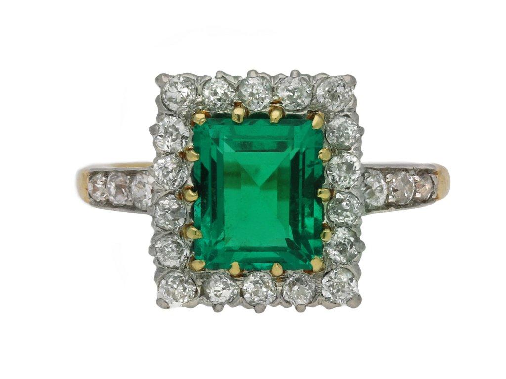 Colombian emerald and diamond cluster ring berganza hatton garden