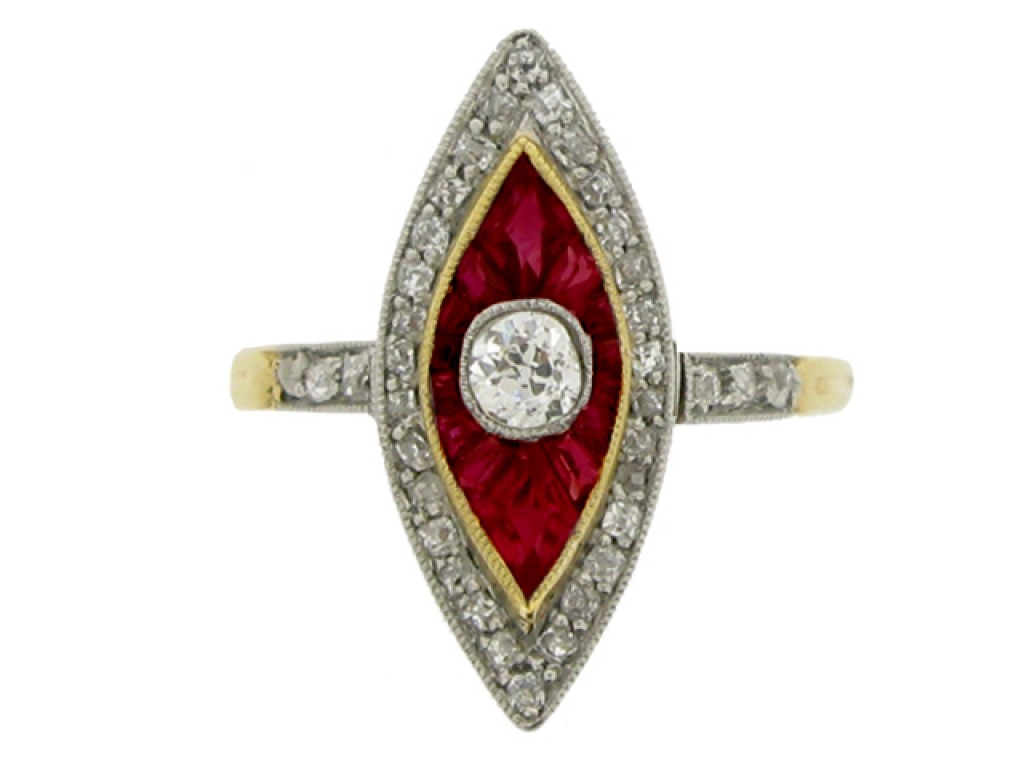 front view Antique ruby and diam
