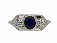 Yard Inc. Art Deco sapphire diamond ring berganza hatton garden