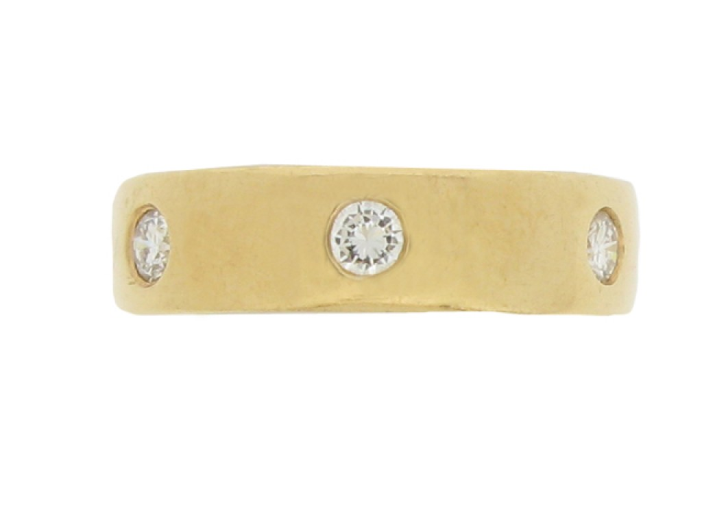 Diamond set band in 18 carat gold, Swedish, circa 1997.